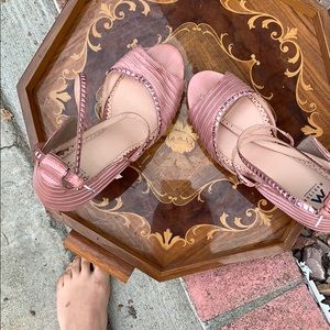 Shoe Dazzle Shoes - Pink strappy pumps slightly moderate wear